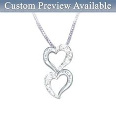 Shop The Bradford Exchange Online for Loving Hearts Personalized Diamond Pendant Necklace Two shining hearts, one special love, now joined with the brilliance of diamonds! There may never be a more beautiful way to express the love you both share than with