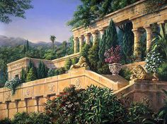 hanging gardens of babylon | Artist's rendition of the Hanging Gardens of Babylon, one of the ...