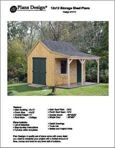 12 X 12 Cottage Shed with Porch Project Plans -Design #81212 - Amazon.com