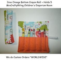 Dinosaur Orange Bottom Crayon Roll Party Favor. $2.00, via Etsy.