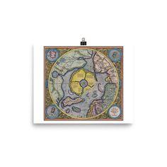 Mercator Hondius Map of the Arctic - Premium Luster Paper Poster