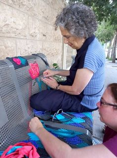Locals Embroider Street Benches to Add Creative Color to Their Neighborhood - cool example of yarn street art!