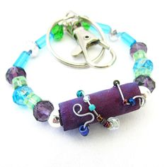 Purple Bracelet Keychain Gift for Teacher by EarthlieTreasures, $21.99