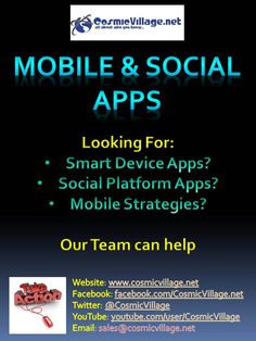 Mobile + Social Apps: Looking to get mobile? How about a Facebook App? Our team can build you a basic smart device app across: iOS (inc. iPad)   Bada   Android   Blackberry   Windows7 for as little as $550 (Inc. GST). We've also got a specialist team for Facebook Apps too! See More: http://bit.ly/zYjniZ