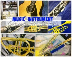 Music Instrument and Composition Structures Watercolor Painting Lesson for HS Art. AP Art Concentration Idea