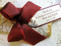 Handcrafted chocolate slab with bow and message card