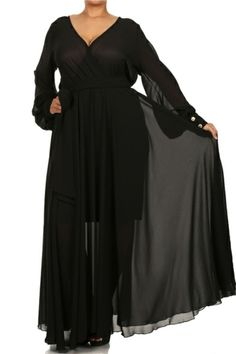 PLUS Black Teal Purple FULL SWEEP Chiffon MAXI DRESS Wrap SHEER Gown Long  Skirt  Unbranded 51e85262c472
