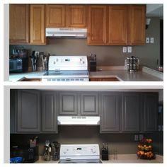 Grey cabinet makeover! In my yellow kitchen.... Hmmm