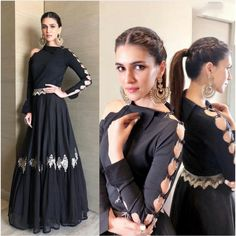 bollywood black embroidered partywear gown