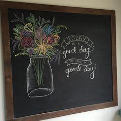 Chalkboard art, mason jar flowers, quote, hand lettered, summer chalkboard art