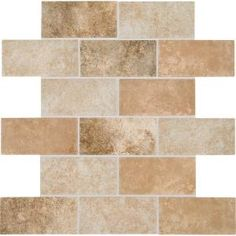 Backsplash in kitchen? Daltile Grand Cayman Oyster Blend 12 in. x 12 in. x 8 mm Ceramic Brick-Joint Mosaic Floor/Wall Tile sq. / - The Home Depot Ceramic Mosaic Tile, Mosaic Wall Tiles, Glazed Ceramic, Mosaic Glass, Backsplash Tile, Backsplash Ideas, Wall Installation, Ceramic Materials, Grand Cayman