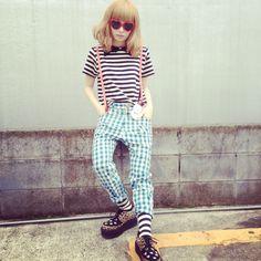 Kyary Pamyu Pamyu heart suspenders stripes fashion