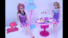 العاب بنات - لعبة غرفة طعام باربي واستقبال صديقتها لتناول الطعام