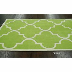 Handmade Luna Moroccan Trellis Rug (7'6 x 9'6) | Overstock.com Trellis Rug, Trellis Design, Trellis Pattern, Lime Green Decor, Simple Borders, Moroccan Pattern, Contemporary Area Rugs, Hand Tufted Rugs, Online Home Decor Stores