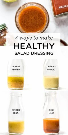 Looking for an easy way to jazz up your boring salads? Try one of these AMAZING and HEALTHY homemade salad dressing recipes! The lemon pepper is my fave. Recipes salad Healthy Salad Dressing: 4 Different Ways - Simply Quinoa Healthy Salad Recipes, Healthy Drinks, Healthy Snacks, Detox Drinks, Vegetarian Salad, Healthy Eating, Detox Recipes, Healthy Salads For Dinner, Healthy Cooking
