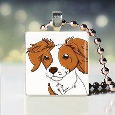 Brittany spaniel Scrabble tile pendant, $7.99 (Etsy), for JM