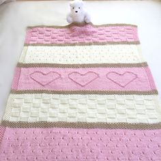 Baby Hearts Knitting Pattern Easy blanket to knit for baby Download the Pattern http://www.bookdrawer.com/go/baby-hearts-knitting/