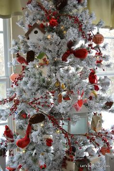 cardinal tree flocked tree red birds bird houses plaids branchestwigs pinecones - Red Cardinal Christmas Decorations