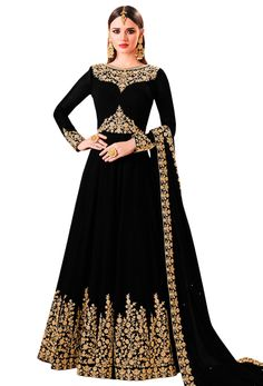 black salwar kameez would build and dignity. It for all skin is the best place for buying in . Indian Gowns, Pakistani Dresses, Indian Outfits, Wedding Dinner Dress, Black Salwar Kameez, Casual Dresses, Fashion Dresses, 90s Fashion, Embroidery Suits Design