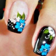 unha decorada Flower Nails, Diy Nails, Simple Designs, Nail Art Designs, Finger, Hair Beauty, Make Up, Flowers, Nail Art