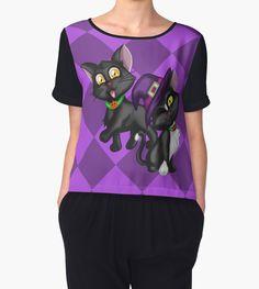 Halloween Kittens Women's Chiffon Top #halloween #cats #blackcat #witch #purple