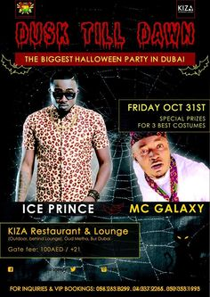 Friday 31st Oct! The Biggest Halloween Party In Dubai! Get your costumes ready! special prizes to be won for best Costume! Party with @IcePrinceZamani & @RealMcGalaxy. For booking call: +971 (0) 43372265, +971 (0) 562638299 #Turnuplikenoother #turnup #kizadubai#halloween #dubai #africa #africanparty #oct31 #party#doroparty #kizaloungeandrestaurant #okokobioko#sekem #shoki