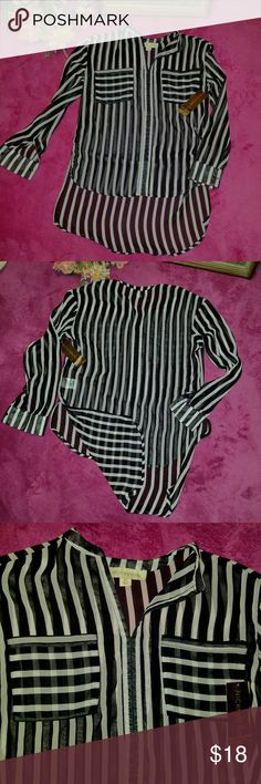 NWT-Nicki Minaj Sheer Striped Hi-Lo Blouse Extremely cool Nicki Minaj black and white striped sheer hi-lo blouse. Brand new with the tags. Bundle 3 items and receive a lovely new gift! Bundle 4+ items and receive the gift plus 15% off! Nicki Minaj Tops Blouses