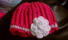 Crochet Baby Hat Pink Flower Ribbed