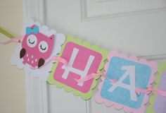 Owl Happy 1st  Birthday Banner, Birthday Party, Owl Theme Pink and Green on Etsy, $28.67 AUD