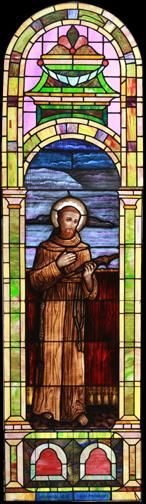 Large Vintage Saint Francis of Assisi Church Stained Glass Window DESCRIPTION: Large vintage Romanesque church stained glass window depicting Saint Francis of Assisi.