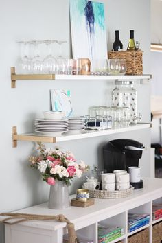 These functional open shelves are our small space alternative to the infamous bar cart.