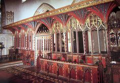 Yorkshire, Aysgarth    Rood screen carved by the Ripon School of carvers in 1506, said to have been carried from Jervaulx Abbey intact on the shoulders of 20 men at the Dissolution in 1536.