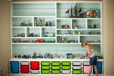 This is one of the most inspirational LEGO storage solutions we have seen! We also love the storage tips for the kids: 1. Pick up after yourselves 2. If you are working on something, place it on the countertop so we know you want to keep it.  3. Save your finished builds up on a shelf to display!