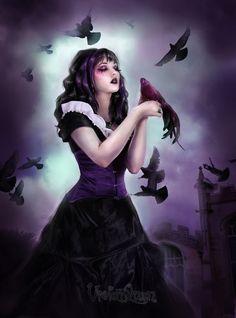 f Druid Robes Birds Castle night street lg Dark Gothic Art, Gothic Fantasy Art, Medieval Fantasy, Dark Beauty, Beauty Art, Gothic Beauty, Vampires, Steampunk, Dark Princess