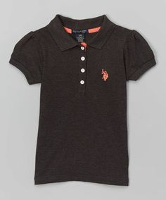 Loving this Heather Charcoal Four-Button Polo - Girls on #zulily! #zulilyfinds