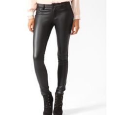 Forever 21 faux leather pants Perfect condition. Never worn! Forever 21 Pants Skinny