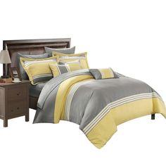 Karsa Falcon 10 Piece Comforter Sheet Set Bed In A Bag King & Queen Yellow