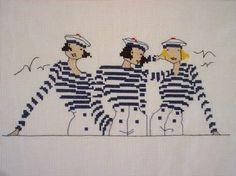 0 point de croix femmes en marinières rayées bleues - cross stitch ladies in blue striped smocks