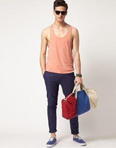 shirt, pants, shoes, duffel, summer