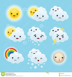 nine-kid-kawaii-weather-icons-27862426.jpg (1300×1390)