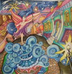 "Adult coloring book The Magical City. ""Piccadilly Circus"" page. Colored by Dayna Brown with inktense pencils activated with a waterbrush. Fun! The inktense pencils do wrinkle the pages but i don't mind. It still works good. Very fun coloring book!"