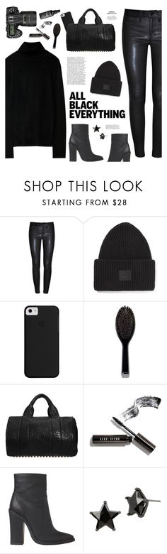 """""""All-Black Outfit"""" by mylkbar ❤ liked on Polyvore featuring J Brand, Acne Studios, Nikon, GHD, Alexander Wang, Bobbi Brown Cosmetics, Lipstik, Betsey Johnson, NYX and allblack"""