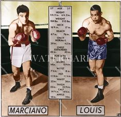 OD10 Rocky Marciano vs Joe Louis 1951 Tale of Tape Boxing 11x11 Colorized Photo | eBay