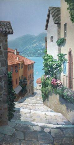 Italian Paintings, Italian Street, Street Painting, Scenery Wallpaper, Anime Scenery, Aesthetic Art, Artist Painting, Landscape Art, Cute Wallpapers