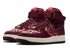 new concept 78b90 21df4 Nike x Liberty Burgundy Belmont Ivy Liberty Print Air Force 1 Hi Trainers