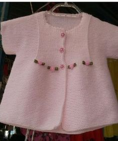 Knitting Pattern for Garter Stitch Baby JacketBaby cardigan knit in garter stitch with options for knit edging or crochet edging. Baby Cardigan, Cardigan Bebe, Baby Pullover, Crochet Baby Dress Pattern, Baby Dress Patterns, Baby Knitting Patterns, Knitting For Kids, Crochet For Kids, Pull Bebe
