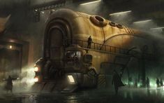 steam punk images | Train – Steampunk wallpaper of a giant train getting directions on a ...