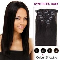 16inches Natural Black #1b  7pcs Clip In Synthetic #HairExtensions #wigs #prettywighair #humanhairwigs #hair #hairstyle #haircolor #beauty #fashion