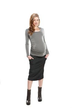 818c8246a74ec Maternal America : Ruched Back Top - Grey (X-Large) at Amazon Women's  Clothing store: Fashion Maternity Blouses