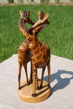 Giraffes Hand Carved African Wooden by CobblestonesVintage on Etsy, $69.00